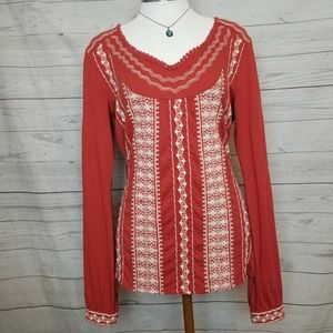 Lucky Brand Cotton Embroidery Top